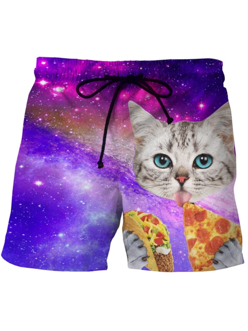3D Cat Print Slim Men's Swim Shorts