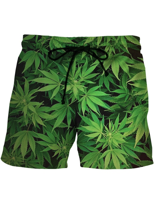 lace-up leaf print lose herren badeshorts