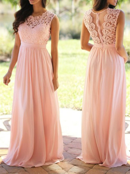 A-Line Scoop Neckline Lace Bridesmaid Dress