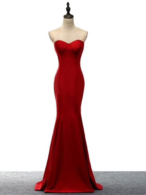 Trumpet Jewel Sweep Train Evening Dress
