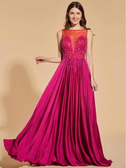 A-Line Bateau Beading Button Lace Prom Dress