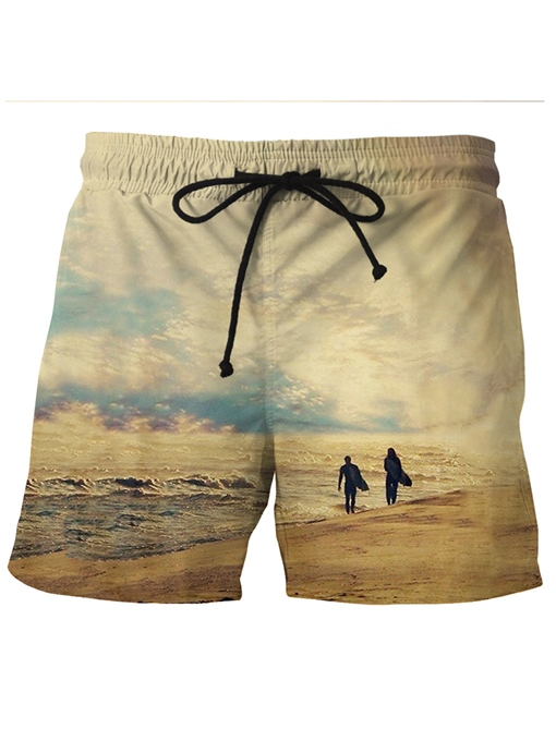 Print Lace-up Quick Dry Men's Beach Shorts