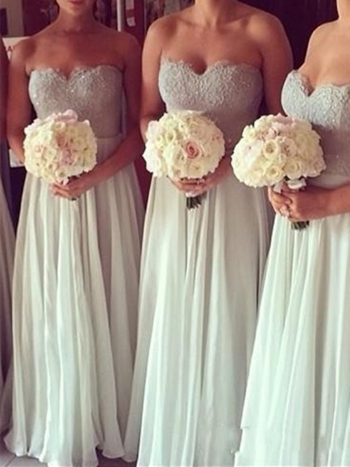 Sweetheart Chiffon Lace Ivory Bridesmaid Dress