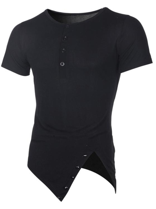 Irregular Plain Slim Fit Men's T-Shirt