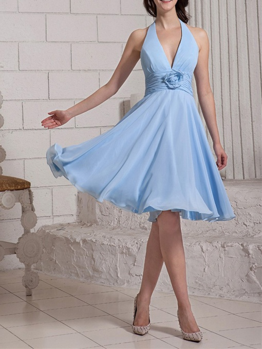 V-Neck Halter Empire Short Bridesmaid Dress