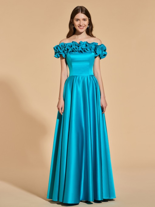 A-Line Ruffles Off-the-Shoulder Prom Dress