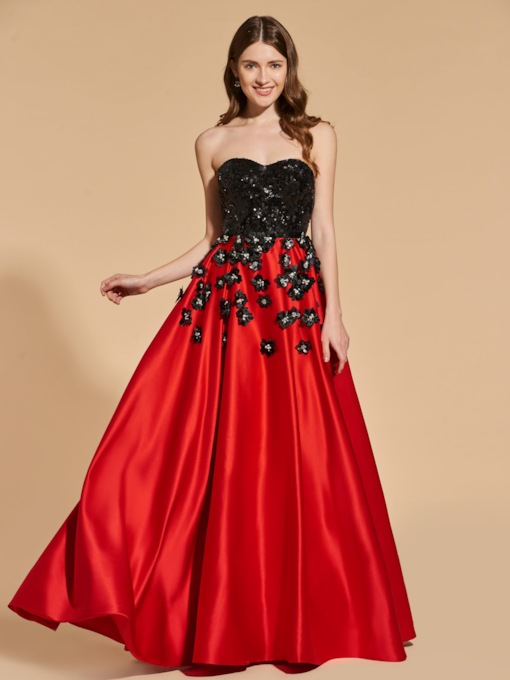 Sweetheart Flowers Sequins Prom Dress
