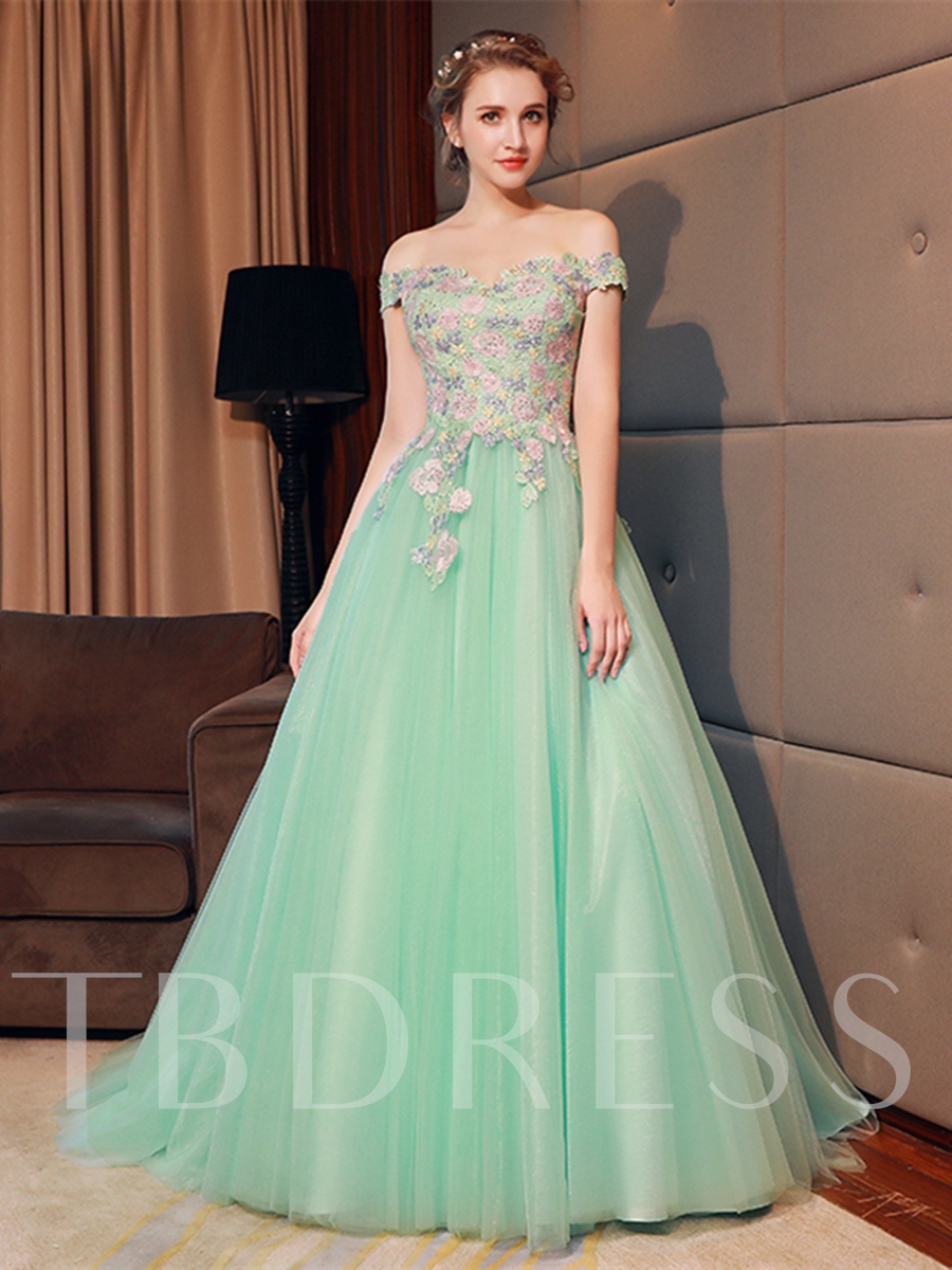 Image of A-Line Off-the-Shoulder Flowers Quinceanera Dress