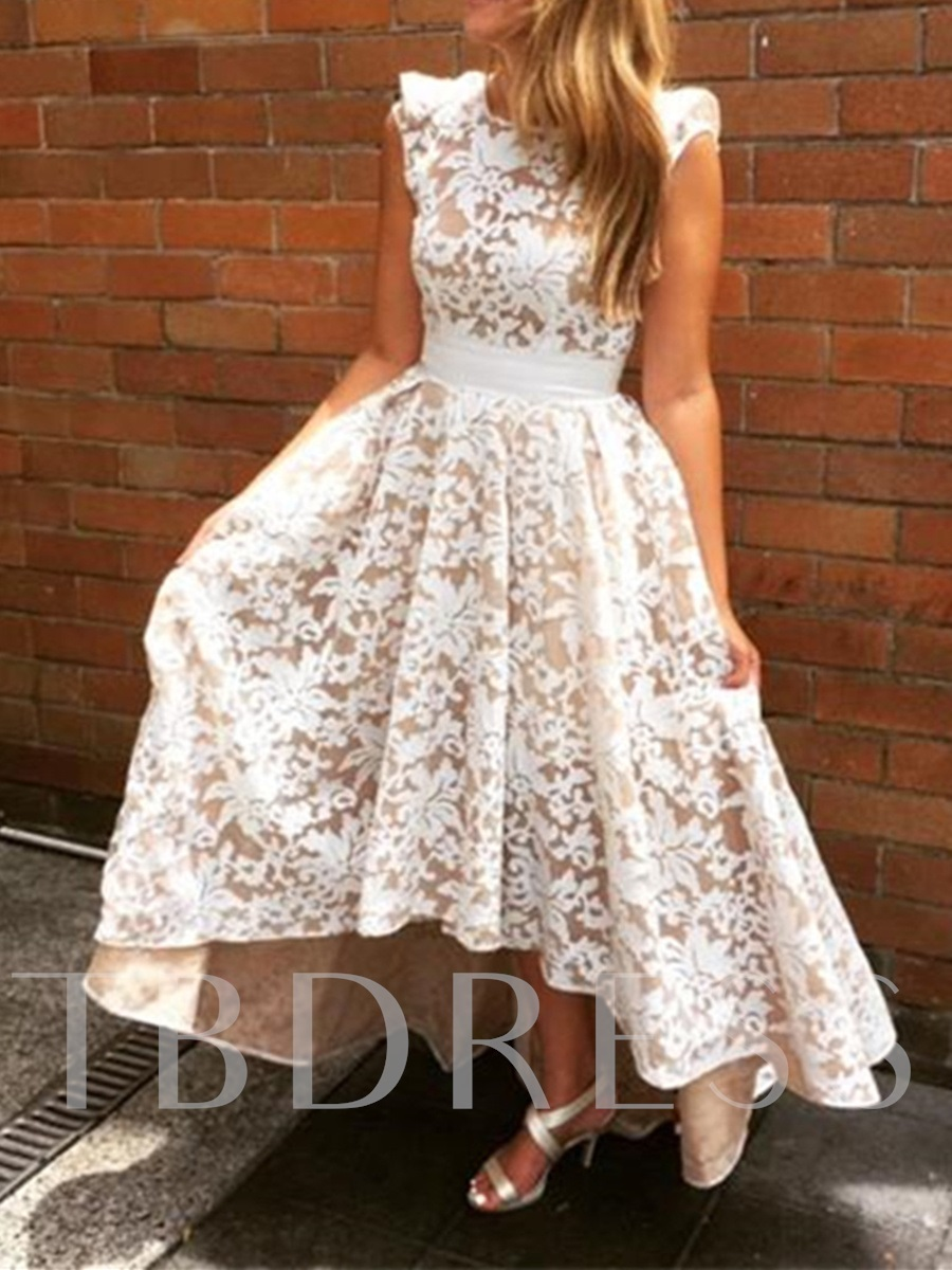 Image of High Low Backless Lace Bridesmaid Dress
