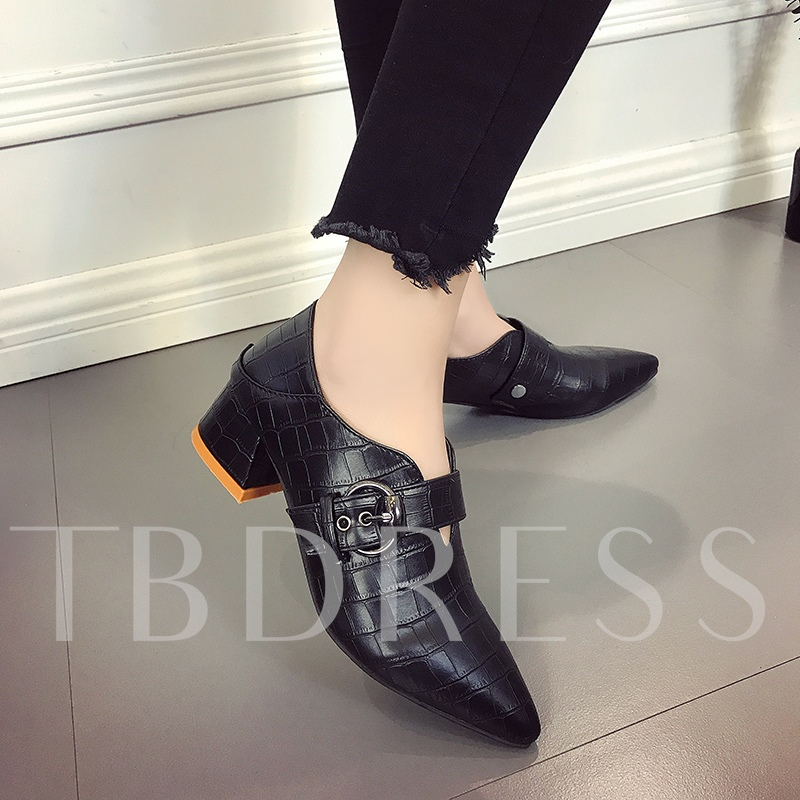 Thick Heels Buckle Slip On Shoes for Women