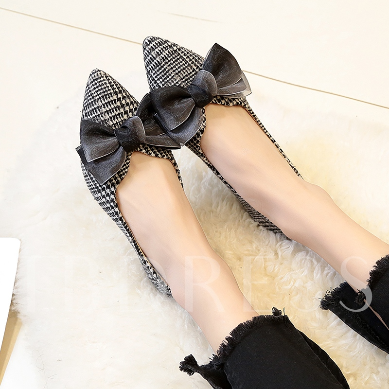 Velvet Bow Plaid Block Heel Women's Casual Flats