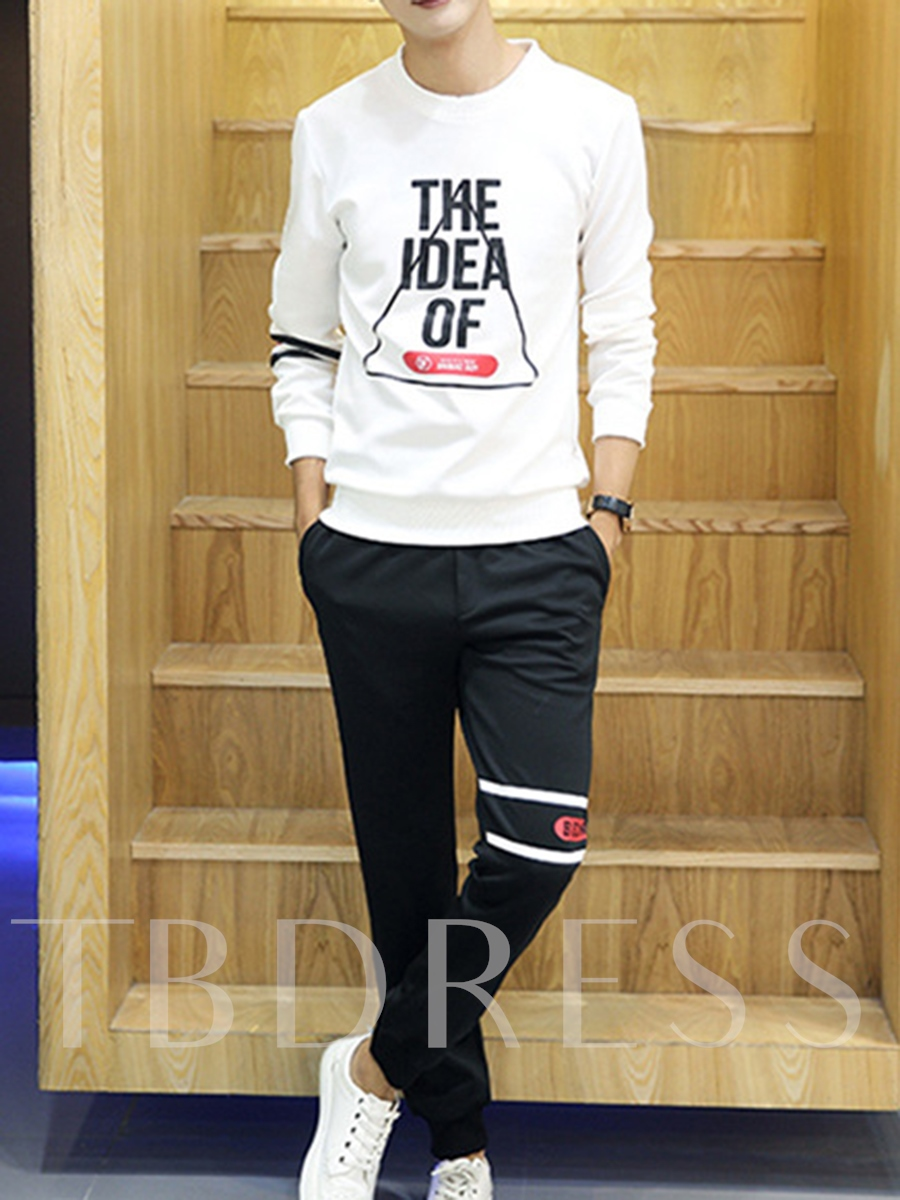 Round Collar Letter Print Men's Sports Suits