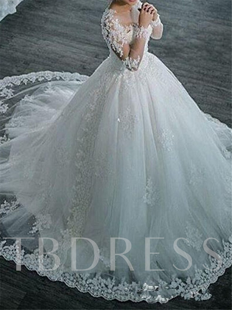 Long Sleeves Appliques Vintage Ball Gown Wedding Dress - Tbdress.com