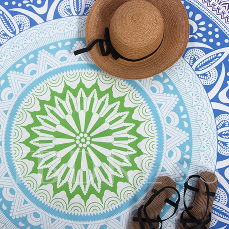 Fresh Plant Print Round Beach Throw
