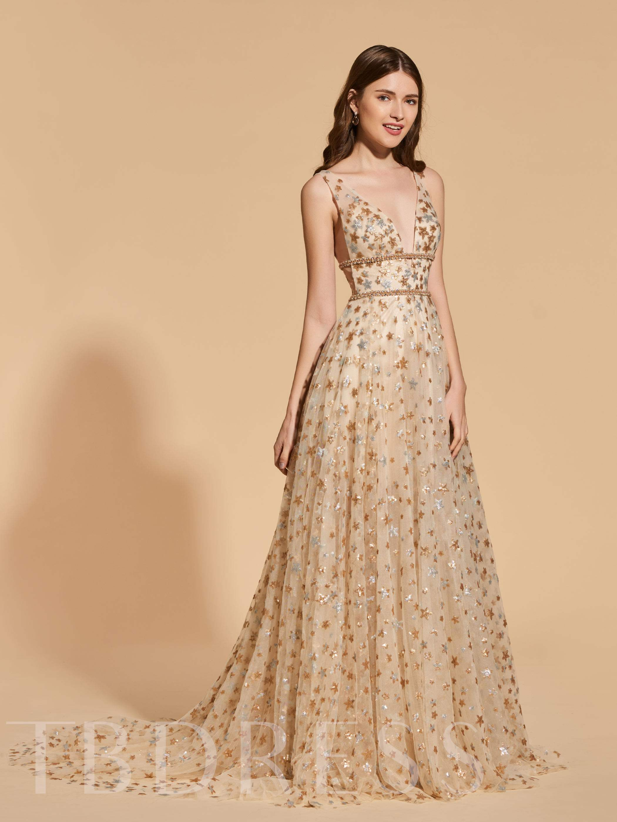 Buy A-Line Empire Lace Beading Prom Dress, Spring,Summer,Fall,Winter, 13161253 for $159.85 in TBDress store