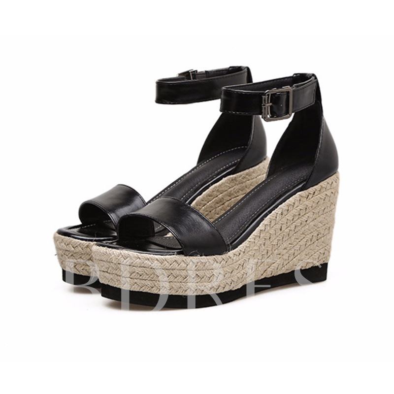 Buy Buckle Heel Covering Women's Wedge Heel Sandals, Spring,Summer, 13163569 for $32.99 in TBDress store