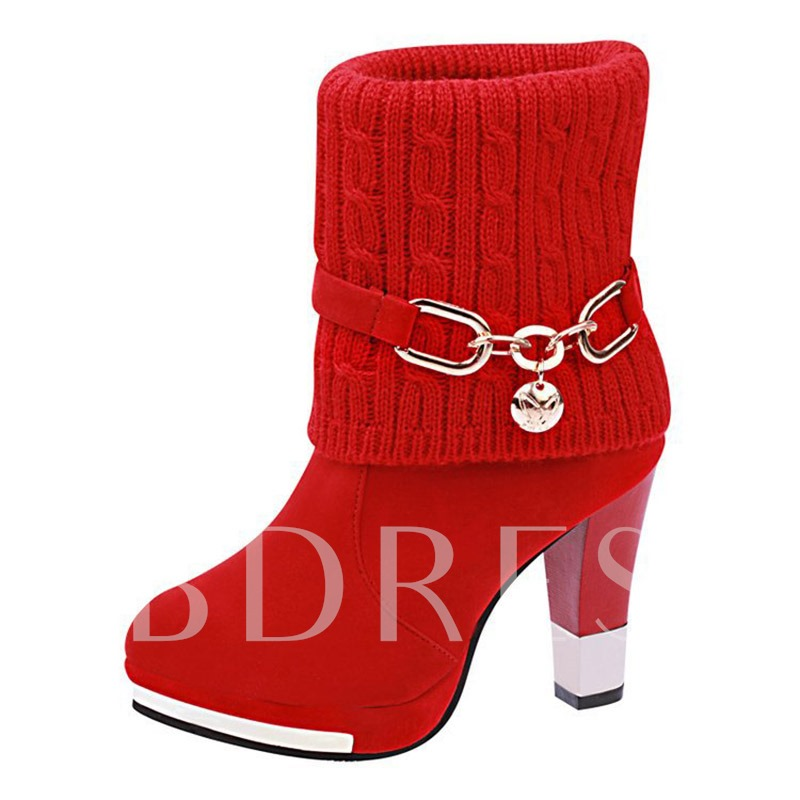 Knitted Chain Sequin Women's Chunky Heel Boots