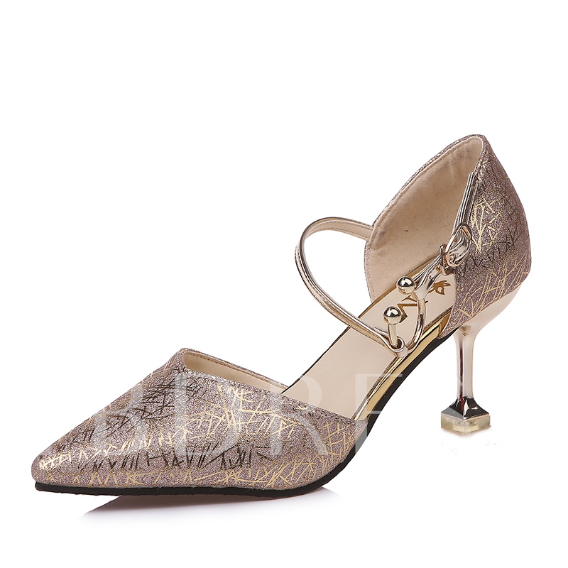 Buckle Glitter Spool Heel Women's Pointed Toe Prom Shoes