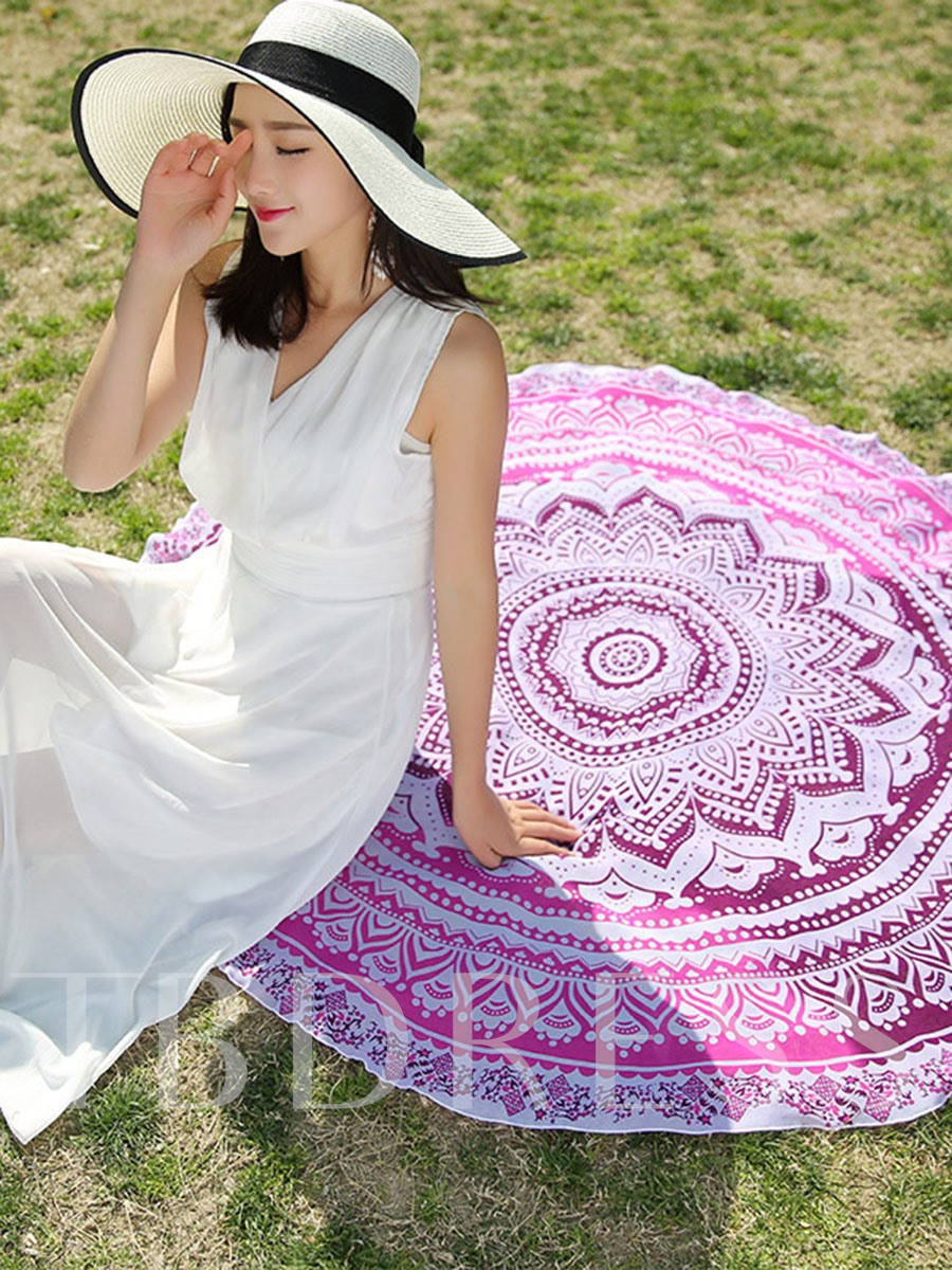 Geometric Print Round Beach Throw