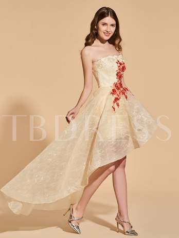 A-Line Lace Strapless Appliques High Low Prom Dress