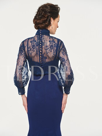 High Neck Mermaid Lace Mother of the Bride Dress