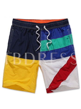Color Block Loose Quick Dry Men's Beach Shorts