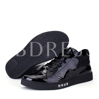 Patent Leather Tie Up Black Fashion Shoes for Men