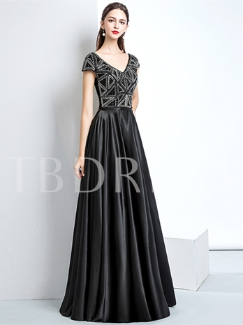 A-Line V-Neck Beading Evening Dress