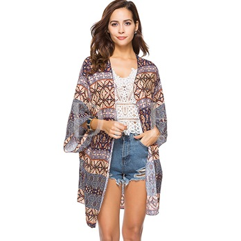 Print Flare Sleeve Mid-Length Cover-Up