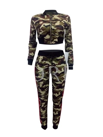 Camo Lace-Up Stand Collar Stripe Women's Two Piece Set