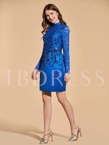Beading Button Lace Sheath Cocktail Dress