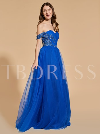 A-Line Beading Button Appliques Prom Dress