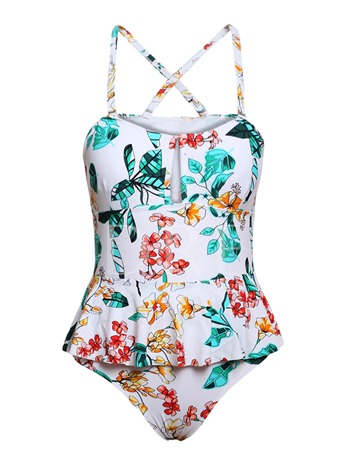 Floral Printed Gallus Falbala Women's Plus Size Swimsuit