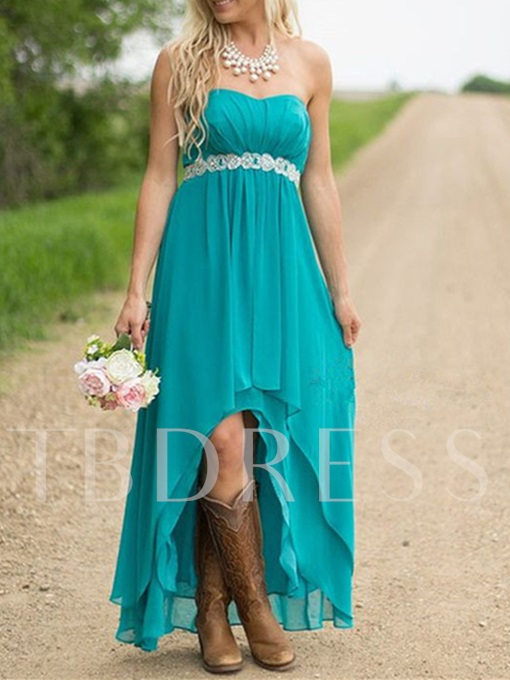 Strapless A-Line Chiffon High Low Bridesmaid Dress