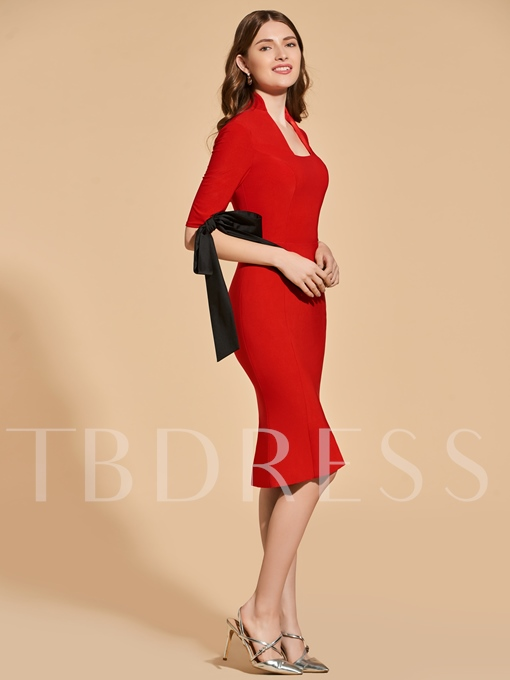 Sheath Bowknot Square Knee-Length Cocktail Dress