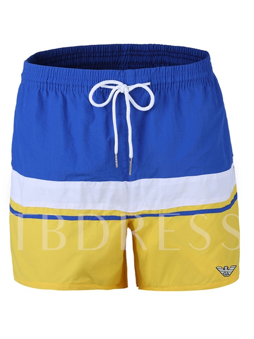Stripe Print Patchwork Loose Men's Swim Shorts