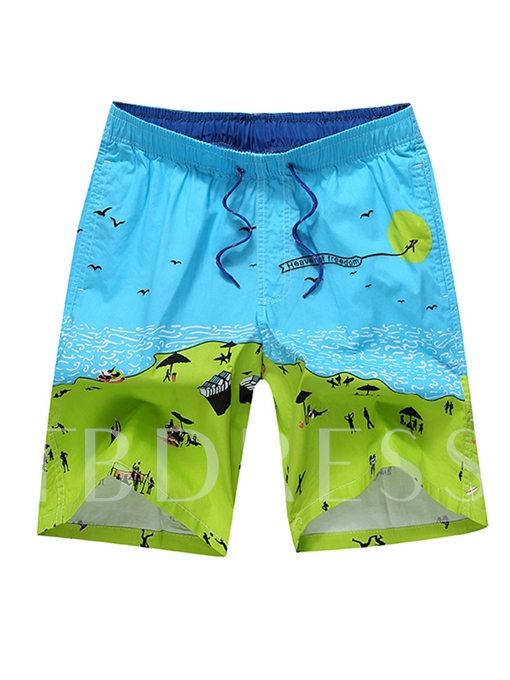 Patchwork Lace-up Loose Men's Beach Shorts