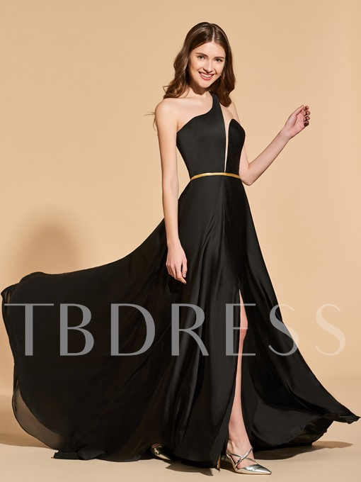 A-Line One-Shoulder Sashes Split-Front Prom Dress