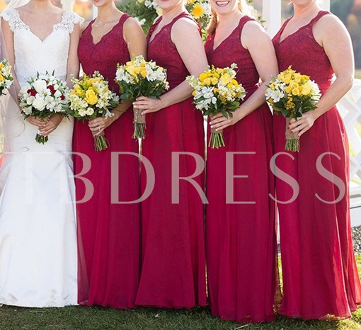 Straps Lace Top Backless Bridesmaid Dress