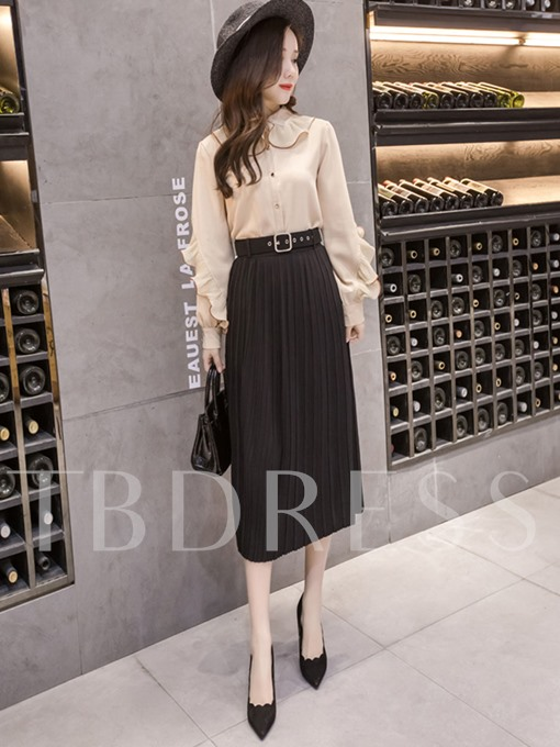 Plain Chiffon High Waist Women's Pleated Skirt
