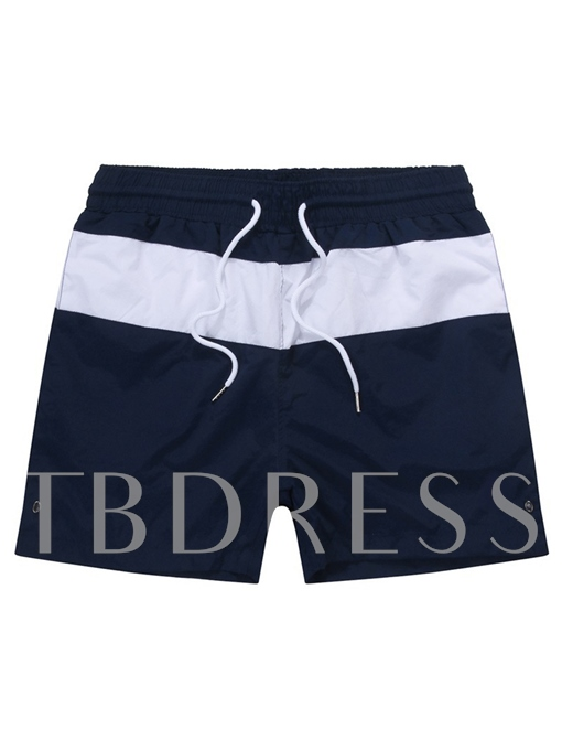 Color Block Plain Slim Men's Swim Shorts