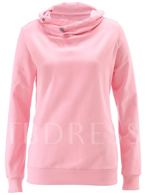 Pocket High Collar Solid Color Women's Hoodie