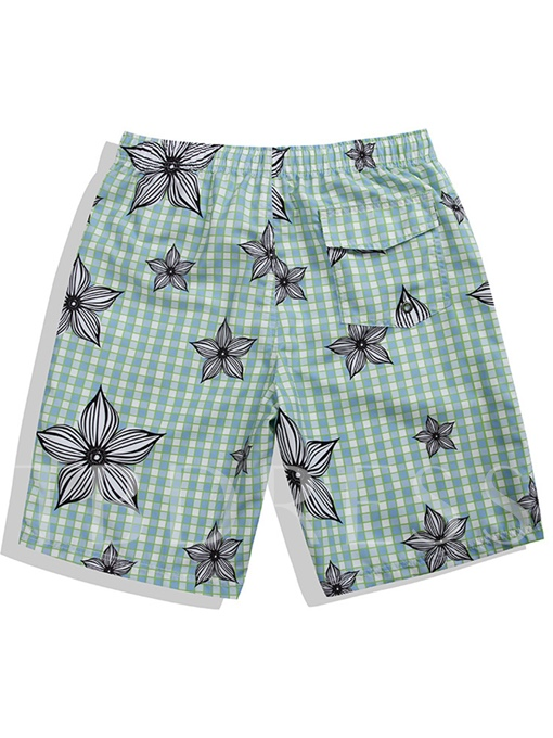 Floral Print Quick Dry Slim Men's Swim Shorts