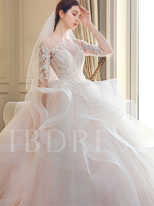 Illusion Neck Appliques Half Sleeves Wedding Dress