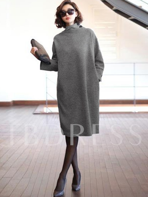 Light Gray Long Sleeve Women's Day Dress