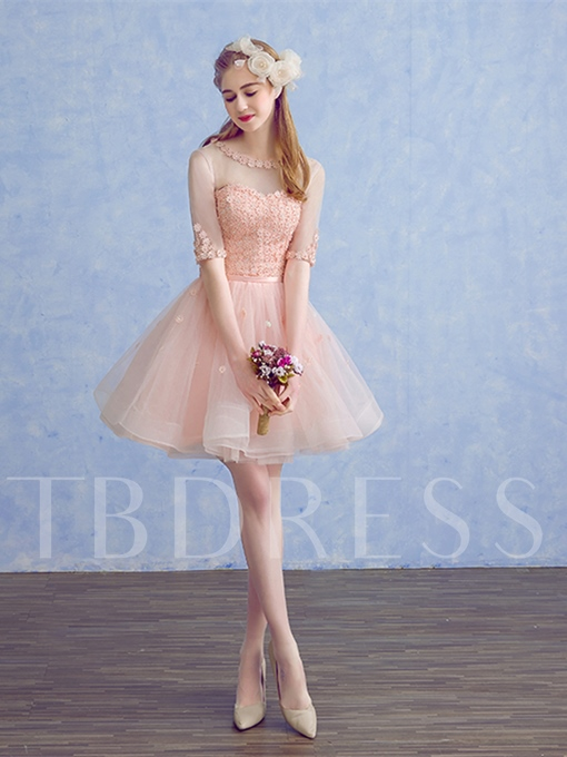 A-Line Beading Flowers Sashes Cocktail Dress