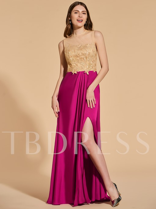 A-Line Scoop Button Lace Split-Front Prom Dress