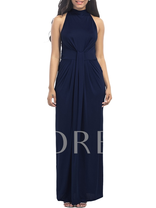 Sleeveless Plain Ruffled Women's Maxi Dress