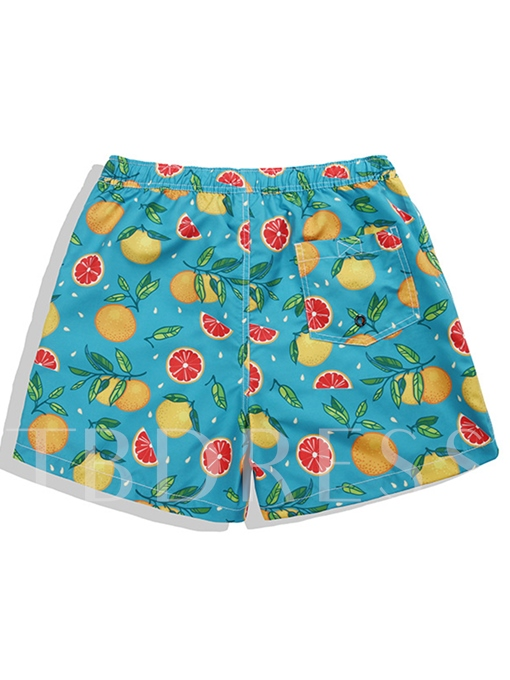 Fruit Print Slim Men's Swim Shorts