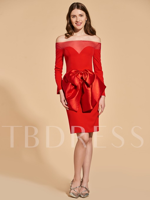Sheath Bowknot Empire Off-the-Shoulder Cocktail Dress